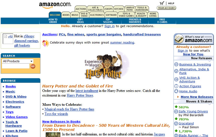 Amazon Website in Year 2000