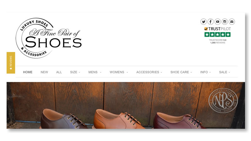 A Fine Pair of Shoes Fashion Website on Shopify