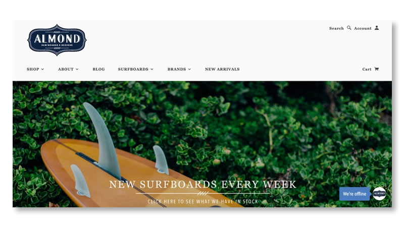 Almond Surfboards Website on Shopify
