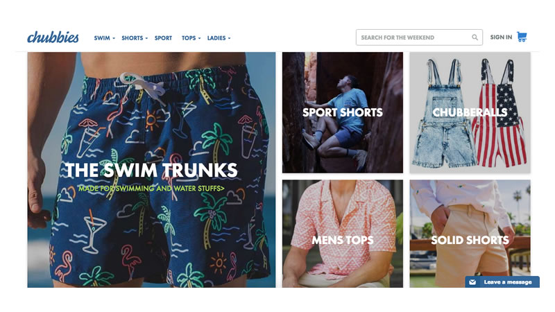 Chubbies Shorts Website on Shopify