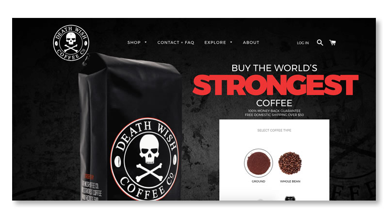 Death Wish Coffee Website on Shopify