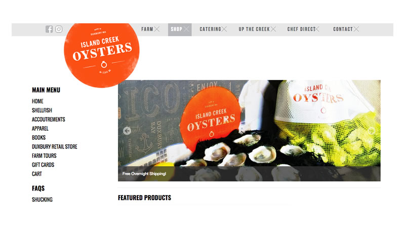 Island Creek Oysters Website on Shopify