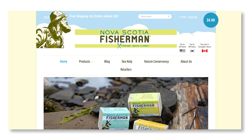 Nova Scotia Fisherman Website on Shopify