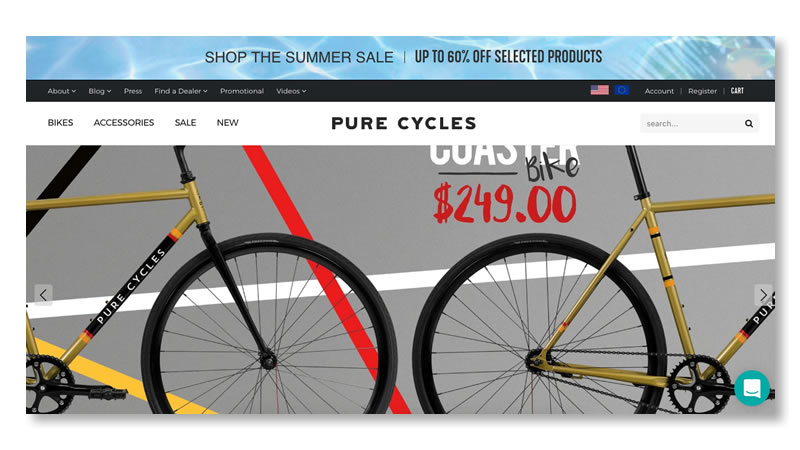 Pure Cycles Website on Shopify