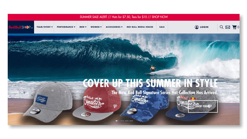 Red Bull Shop Website on Shopify