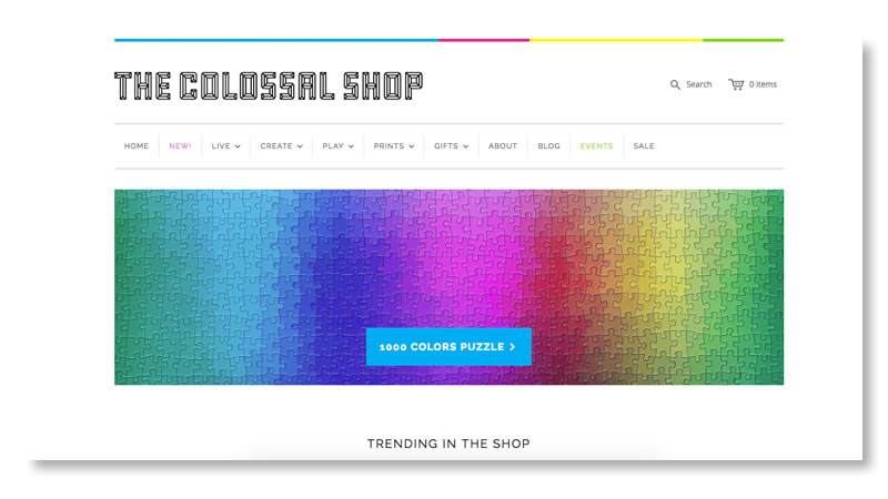 The Colossal Shop Website on Shopify