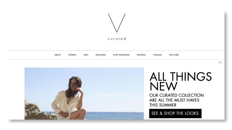 Vcurated Fashion Website on Shopify